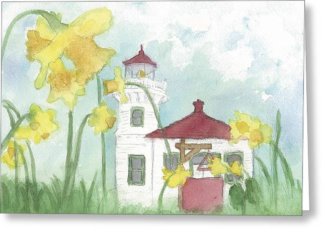 Mukilteo Lighthouse From A Different Perspective Greeting Card by Ann Michelle Swadener