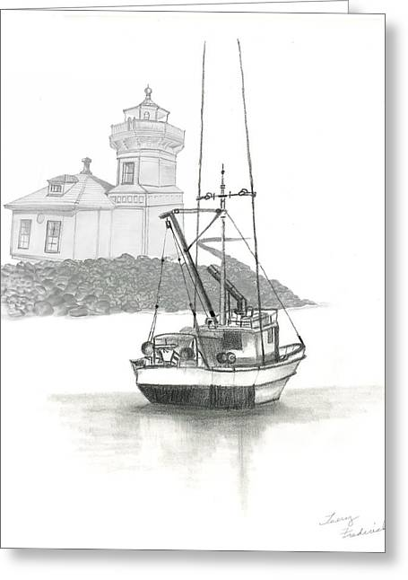 Greeting Card featuring the drawing Mukilteo Lighthouse by Terry Frederick