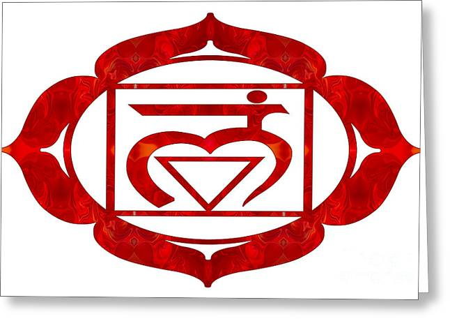 Muladhara Two Or Root Chakra Abstract Art By Omaste Witkowski Greeting Card