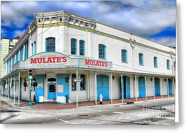 Mulates New Orleans Greeting Card by Olivier Le Queinec