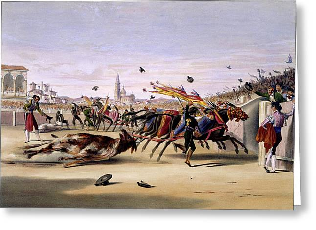 Mules Dragging Out The Bull Greeting Card by British Library