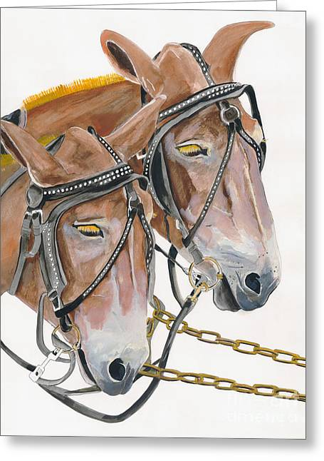 Mules - Two - Beast Of Burden Greeting Card by Jan Dappen