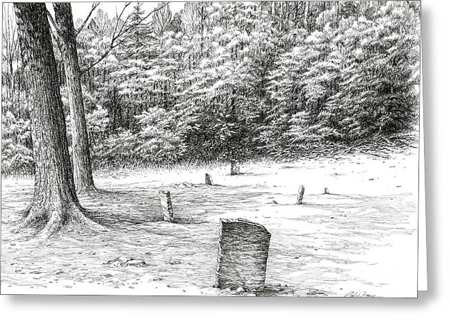 Greeting Card featuring the drawing Mullin's Cemetery by Bob  George