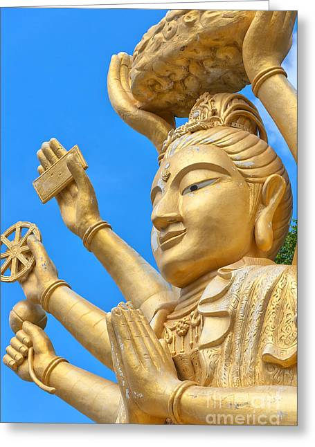 Multi Armed Buddha 02 Greeting Card by Antony McAulay
