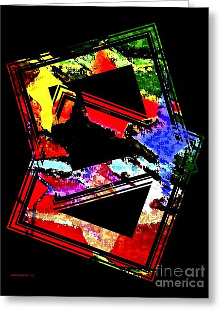 Multi Color Geometric Design Art Greeting Card by Mario Perez
