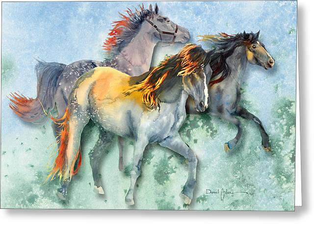 Da132 Multi - Horses Daniel Adams Greeting Card