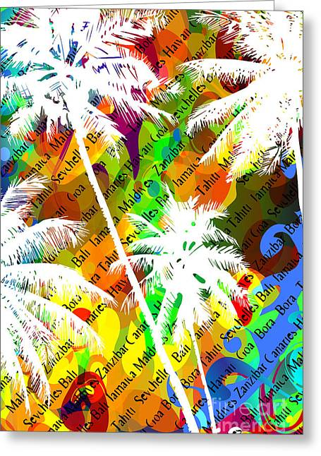 Multicolor Abstract Tropical Background Greeting Card
