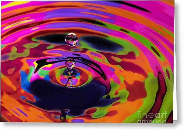 Multicolor Water Droplets 2 Greeting Card by Imani  Morales