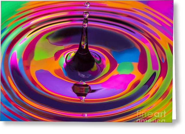 Multicolor Water Droplets 3 Greeting Card by Imani  Morales