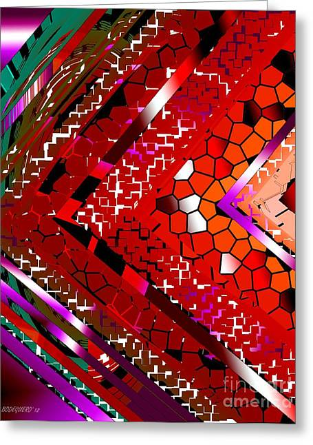 Multicolored Abstract Art Greeting Card by Mario Perez