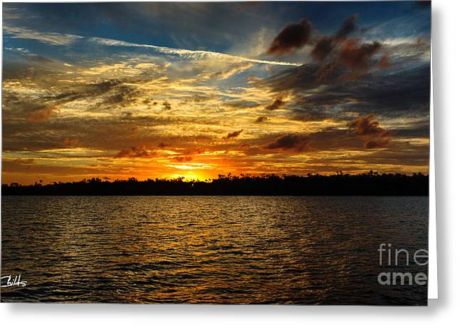 Multicolour At Sea - Sunset Greeting Card by Geoff Childs