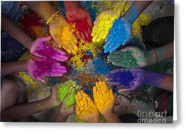 Multicoloured Hands Greeting Card by Tim Gainey