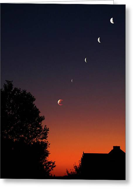Multiple Exposures Of A Total Lunar Greeting Card