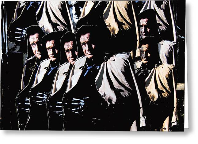 Greeting Card featuring the photograph Multiple Johnny Cash In Trench Coat 1 by David Lee Guss