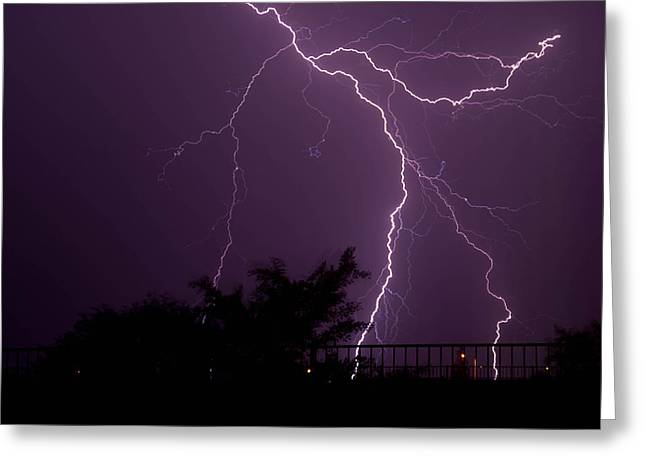 Multiple Lightning Strikes In Casa Grande Arizona Greeting Card by Chris Spangler