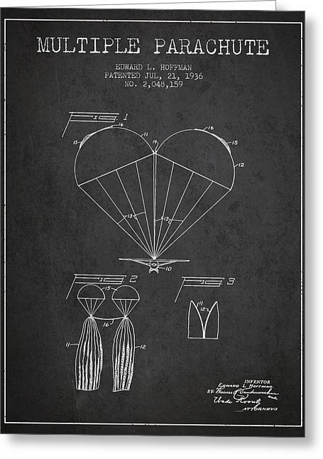 Multiple Parachute Patent From 1936 - Dark Greeting Card by Aged Pixel