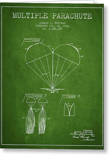 Multiple Parachute Patent From 1936 - Green Greeting Card by Aged Pixel