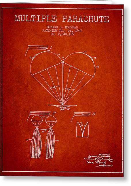 Multiple Parachute Patent From 1936 - Red Greeting Card by Aged Pixel