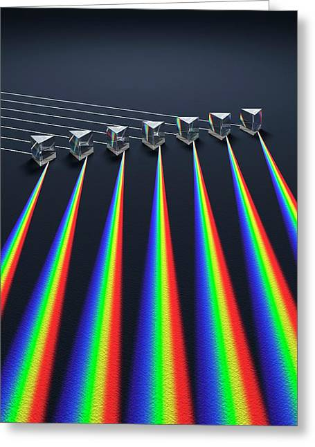 Multiple Prisms With Spectra Greeting Card by David Parker