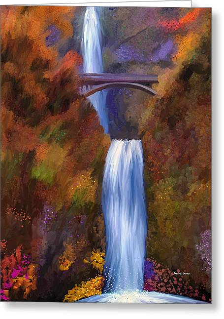 Multnomah Falls In Autumn Greeting Card by Angela A Stanton