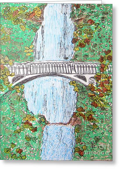 Multnomah Falls Greeting Card by Marcia Weller-Wenbert