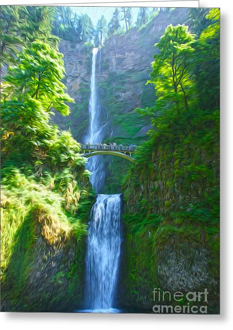 Multnomah Falls Greeting Card by Nur Roy