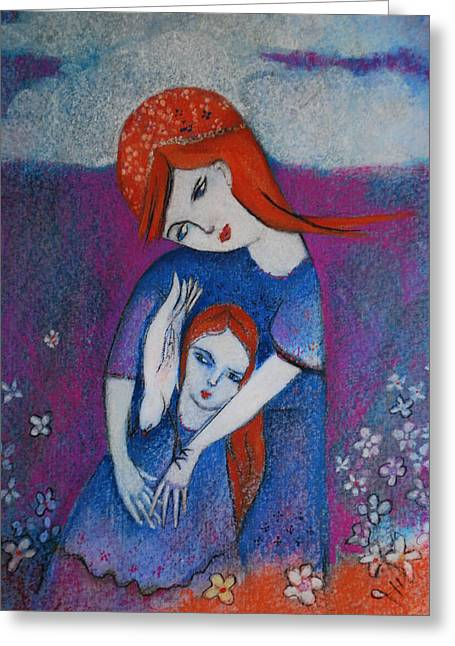 Mum Bird And Me Greeting Card by Deirdre Gillespie