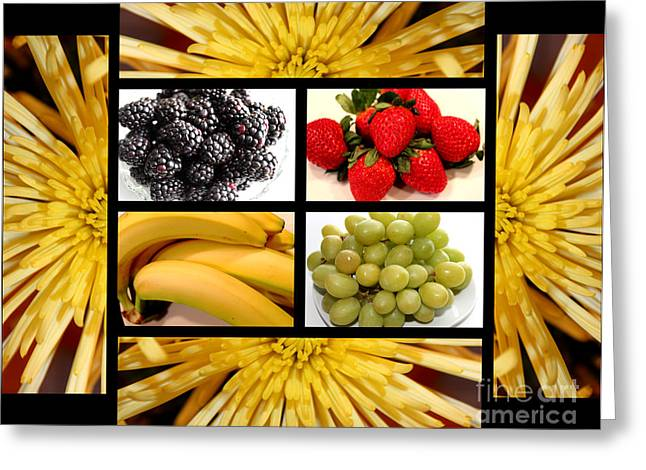 Mums Fruit Collage Greeting Card by Barbara Griffin