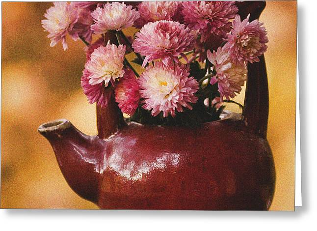 Greeting Card featuring the photograph Mums In A Teapot Still Life by Peggy Collins