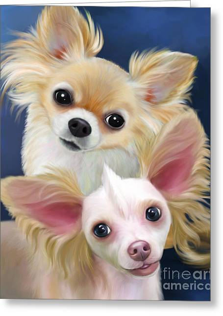 Munchie And Tuffy Greeting Card by Catia Cho