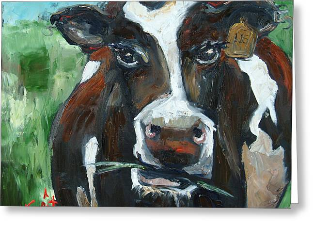 Munchy Moo Greeting Card by Carole Foret