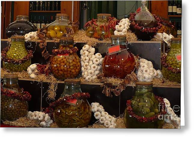Munich Market With Pickles And Olives Greeting Card by Carol Groenen