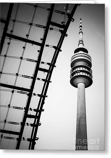 Munich - Olympiaturm And The Roof - Bw Greeting Card