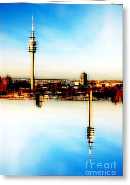 Munich - Olympiaturm Greeting Card by Hannes Cmarits