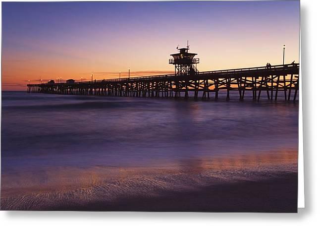 Municipal Pier At Sunset San Clemente Greeting Card by Richard Cummins