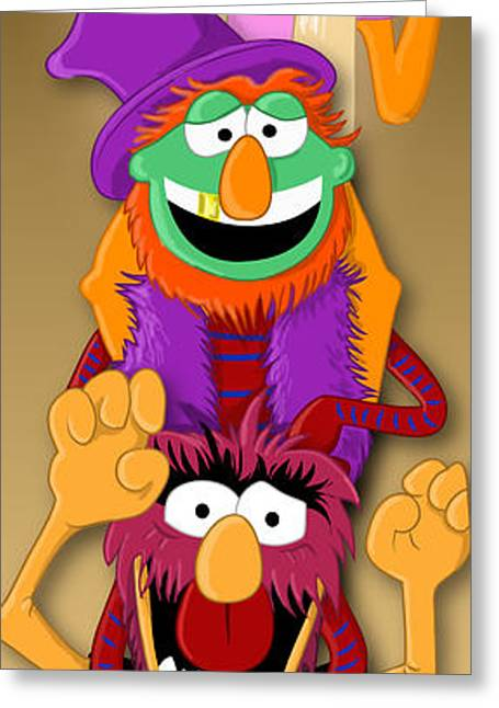 Muppet's Stretching Room Portrait #1 Greeting Card by Lisa Leeman