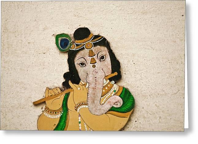 Mural Depicting Ganesha, A Hindu Deity Greeting Card by Keren Su