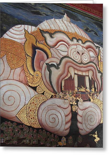 Mural - Grand Palace In Bangkok Thailand - 011311 Greeting Card by DC Photographer