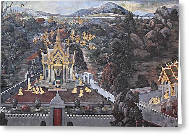 Mural - Grand Palace In Bangkok Thailand - 01132 Greeting Card