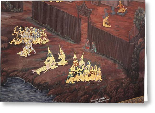 Mural - Grand Palace In Bangkok Thailand - 01136 Greeting Card by DC Photographer