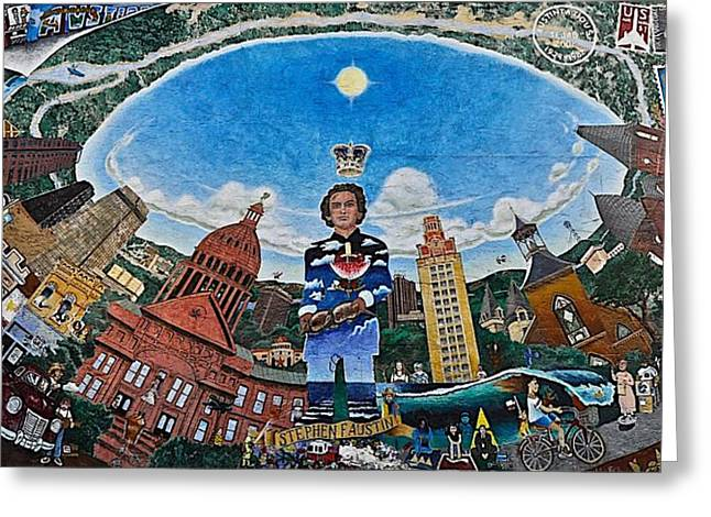 Mural Of Stephen F Austin Off Guadalupe Greeting Card