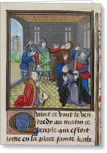 Murder Of The Archbishop Of Canterbury Greeting Card by British Library