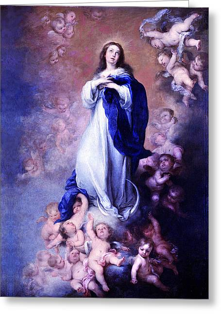 Murillo Vintage Mary Greeting Card by Robert Kernodle