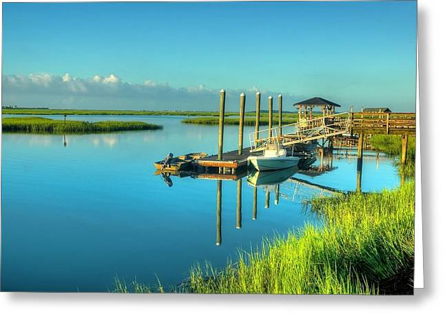 Murrells Inlet Dock Greeting Card by Ed Roberts