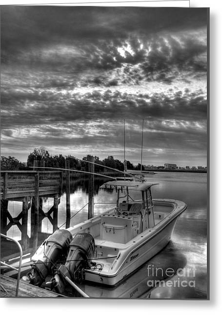 Murrells Inlet Morning 4 Bw Greeting Card by Mel Steinhauer