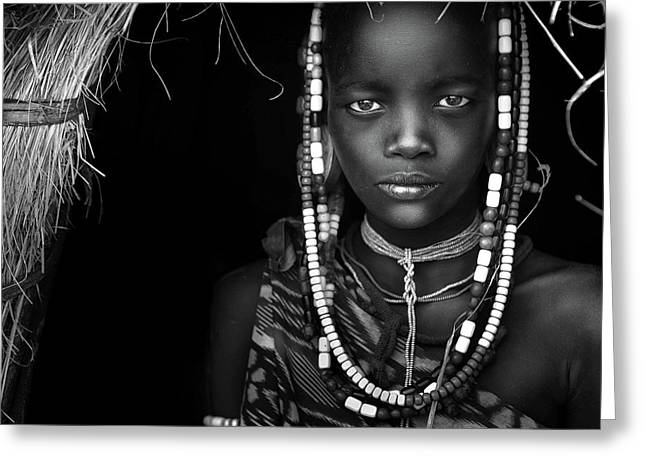 Mursi Girl Greeting Card by Hesham Alhumaid