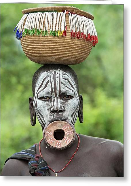 Mursi Woman With Lip Plate And Basket Greeting Card by Tony Camacho