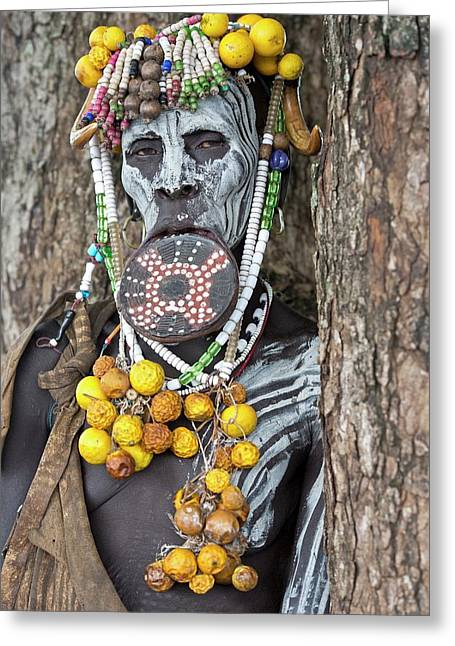 Mursi Woman With Lip Plate And Body Art Greeting Card by Tony Camacho