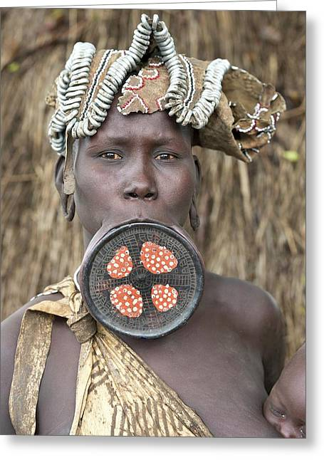 Mursi Woman With Lip Plate Greeting Card by Tony Camacho
