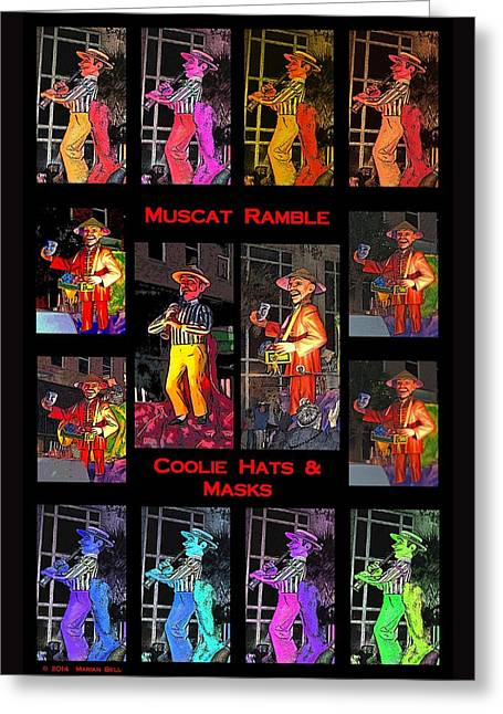 Muscat Ramble And Coolie Hats And Masks Greeting Card by Marian Bell